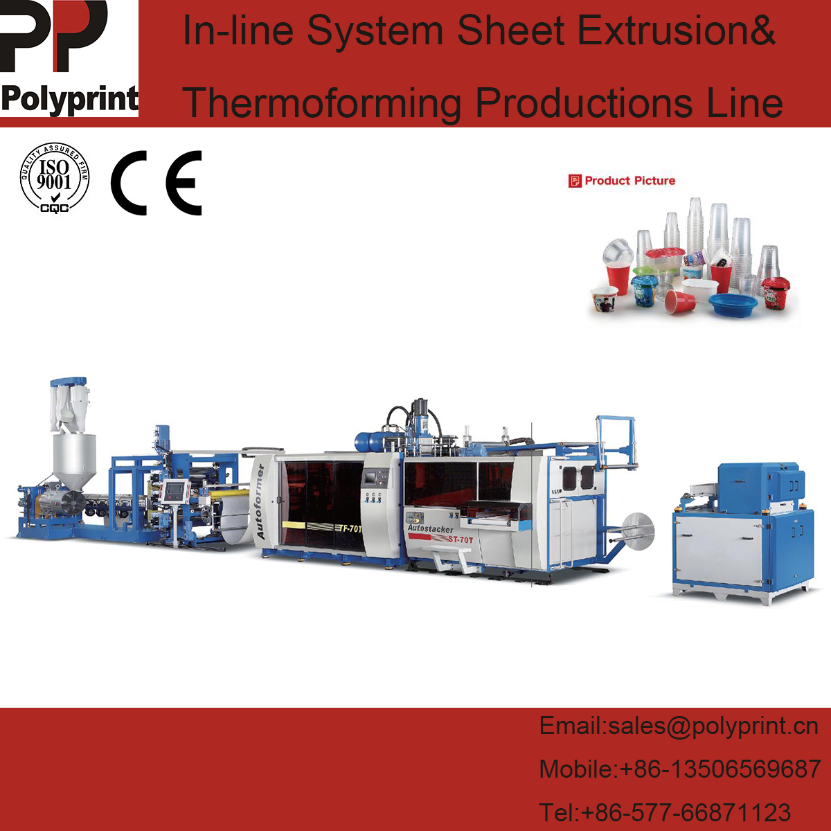 Full-Automatic Plastic PP/PS Sheet Extrusion and Tilt Cup Thermoforming Machine Production Line for Water Cups/Drinking Cups/Milk Cups/Bowls