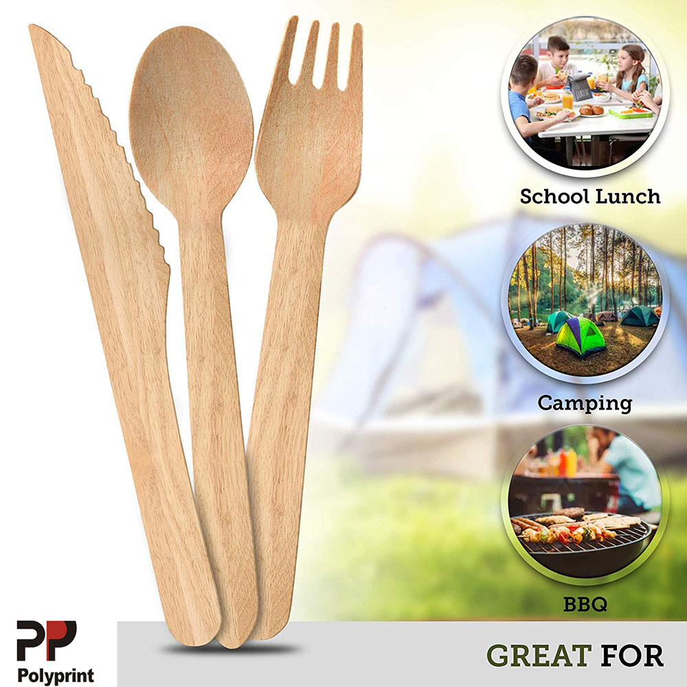 Compostable Wooden Fork Spoon Knife Flatware